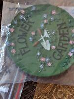 """Miniature Tea Set Plate Platter - Flower Garden - Green w/flowers Resin 3"""""""