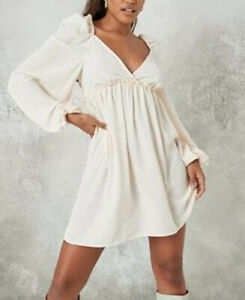 Missguided Women's Stone Puff Sleeve Wrap Skater Dress UK Size 14 VR260 07