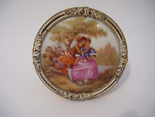 Limoges Fragonard Small Round Framed Porcelain Art Picture