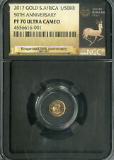 South Africa Coin 2017 Gold 1/50 Krugerrand Ultra Cameo NGC PF70 NO RESERVE!