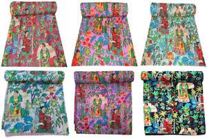 Frida Kahlo Bedding Kantha Quilt Queen Size Blanket Boho Bedspread Coverlet
