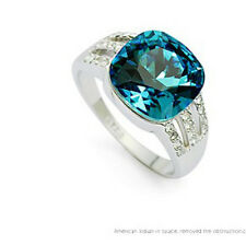 VINTAGE INSPIRED 18K WHITE GOLD PLATED AQUAMARINE GENUINE CUBIC ZIRCONIA RING