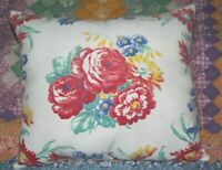 Vintage Wilendur Era Farmhouse Floral Mid Century Tablecloth Lumbar Throw Pillow