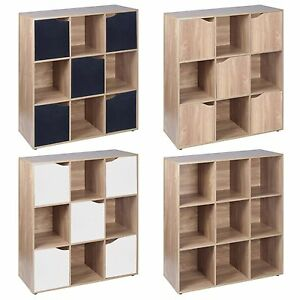 9 Cube Oak Wooden Bookcase Shelving Display Modular Storage Unit Wood Shelf Door
