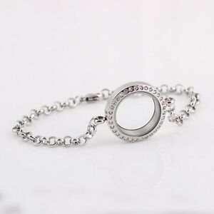Living Memory Floating Charms Glass Silver Round Locket DIY Bracelet Charm Gifts