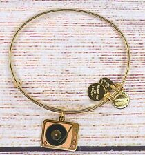 Alex and Ani Record Player Tune In Charm Bangle Shiny Gold Bracelet