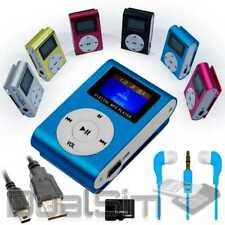 Mp3 Player Screen Blau Clip Aluminium LCD MicroSD SDHC bis 32Gb + Zubehörpaket