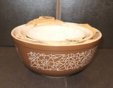 NOS Pyrex Set of 3 Woodland Flowers Brown/Tan Nesting Mixing Bowls 401-402-403