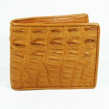 New Beige Genuine Crocodile Alligator Leather Back Skin Mens Bi-fold Wallet.