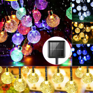 50/100LED Solar Power Fairy String Crystal Ball Lights Garden Party Outdoor Lamp