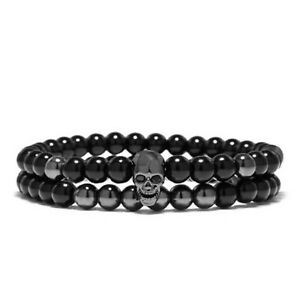 Fashion Men's 6mm Black Skull Stone Beaded Charm Man's Bracelets Gift Jewelry