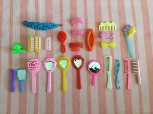 Barbie Doll Hair Brushes, Vanity Mirrors, Hair Curlers, Hair Barrettes Combs Lot