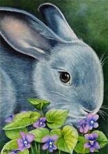 ACEO Limited Edition Print Blue Bunny Rabbit Flowers Violets Art by J. Weiner