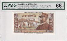 1950-60 Saint Pierre&Miquelon 20 Francs P-24 PMG 66 EPQ Gem UNC