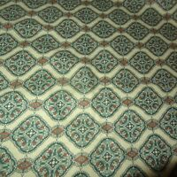 """Green Lightweight Flannel Fabric Repeating Pattern 45"""" Floral Flowers One Yard"""