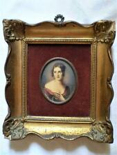 Signed Original Antique French/English Art, Portrait Miniature Lady Gilt Frame.