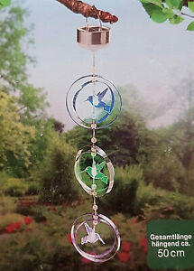 Solar-Windspiel LED Kolibris ( Vogel) mit Farbwechsel