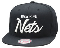 online store 49d69 a0034 Mitchell   Ness Brooklyn Nets Snapback Hat Cap Black White Script