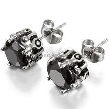 2Pcs Stainless Steel Claw Round Cut Cubic Zirconia Stud Earrings Men's Women's