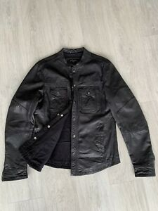 ALL SAINTS DENSIG LEATHER JACKET shirt Small RRP £295 Excellent Condition RARE!