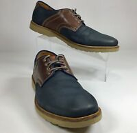 Bostonian Mens Nu-Buck Saddle Shoe SZ 9.5 Blue & Brown Lace-up Oxford