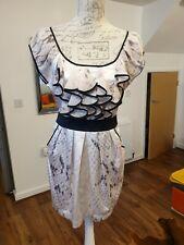 LIPSY LONDON BEIGE SATIN LOOK MARMAID DESIGN RUFFLE TIE BACK BODYCON DRESS UK 12
