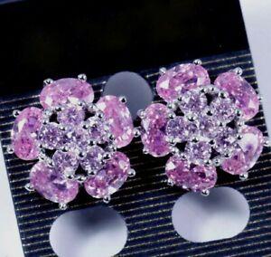 Beautiful Flower Pink Kunzite Silver Earrings