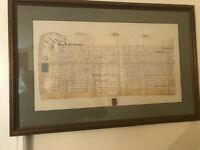 English land indentures on parchment, beautifully framed and matted