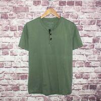 OUTERKNOWN Men's Short Sleeve Henley Shirt Green Organic Cotton Sz Small
