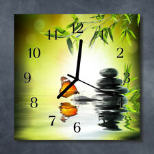Glass Wall Clock Kitchen Clocks 30x30 cm silent Nature Green
