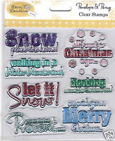Papermania clear rubber stamp set Merry Christmas walking in a winter wonderland