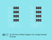 K4 N Decals SLSF Frisco Twin Hopper Car White Large Herald