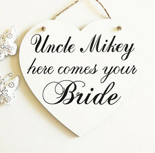 Uncle Here Comes Your Bride, Wedding Decoration, Sign for Page Boy, Aisle Sign