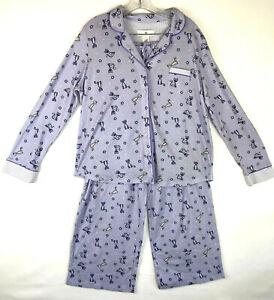Karen Neuburger Womens  Purple Cat Cotton Blend Knit Pajamas Large