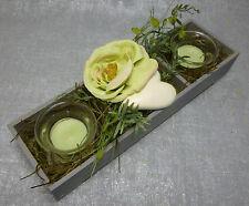 Formano Dekorierter Teelichthalter Holzkasten Rosen Herz Tischdeko weiß grün