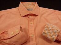 Thomas Dean Jack Stone Mens Large L/S Button-Front Orange Plaid Flip Cuff Shirt