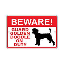 Beware! Guard Golden Doodle Dog On Duty Owner Novelty Aluminum 8x12 Metal Sign