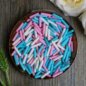 Pink White & Blue Matt Macaroni Rods (20mm) Sprinkles