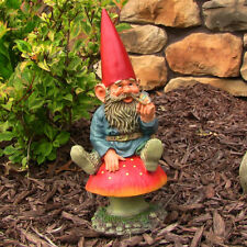 """Sunnydaze Adam with Butterfly Gnome Statue - Outdoor Lawn and Garden Decor - 14"""""""