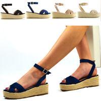 Womens Cross Strap Platform Wedge Heel Sandals Ladies Espadrilles Shoes Size 3-8