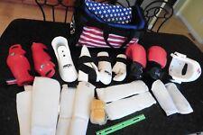 Martial Arts Taekwondo Protective Gear Head shin feet guards sparring in Duffel+