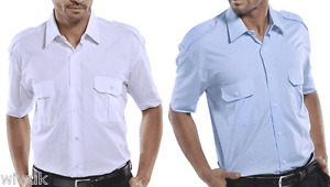 White or Blue short sleeved pilot shirt collar sizes 14.5 to 20.0