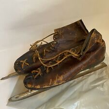 Antique Brown Leather Ice Skates Great Decor Rustic