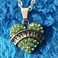 Green Rhinestone BEST FRIEND Love Heart Alloy Pendant Charm Necklaces Chain