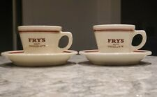 Grindley DURALINE-Hotelware Super Vitrified-FRY's Hot Chocolate Mugs with Saucer