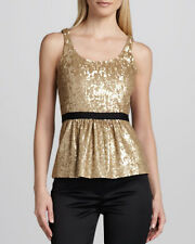 $650 Authentic BURBERRY London Gold Sequence Top Shirt Blouse sz 8
