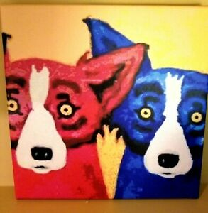 Not Framed Canvas Print  Home Decor Wall art Blue dog and friend 8X8