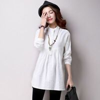 Ladies Linen Cotton Ethnic Shirts Stand Collar Long Sleeve Pleated Blouse White