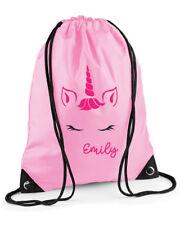 Personalised Unicorn Face Swimming Bag, PE Bag, Gym Bag, Pink or Red, Girls