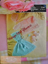 Vintage Knitting Pattern Beautifully Crafted Baby's Cape Coat Bonnet & BOOTIES